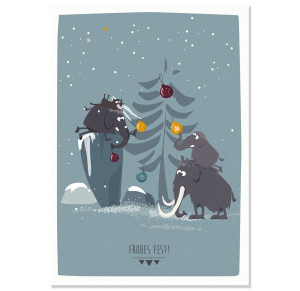 Postcard Frohes Fest - Mammoths