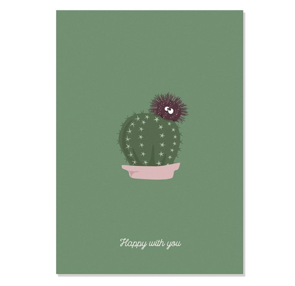 Postcard Happy - Sea Urchin loving Cactus