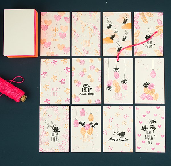 Blank Colored Cut Cards Neon Pink