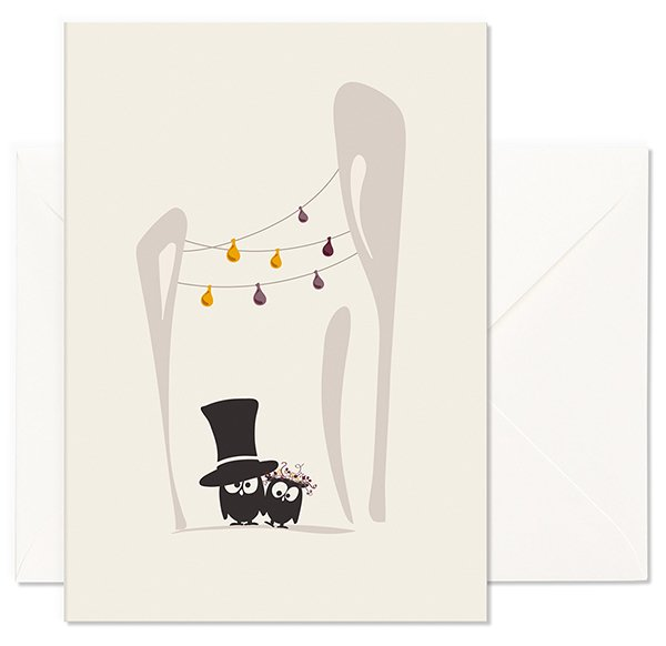Folded Card N Wedding2 - Owls