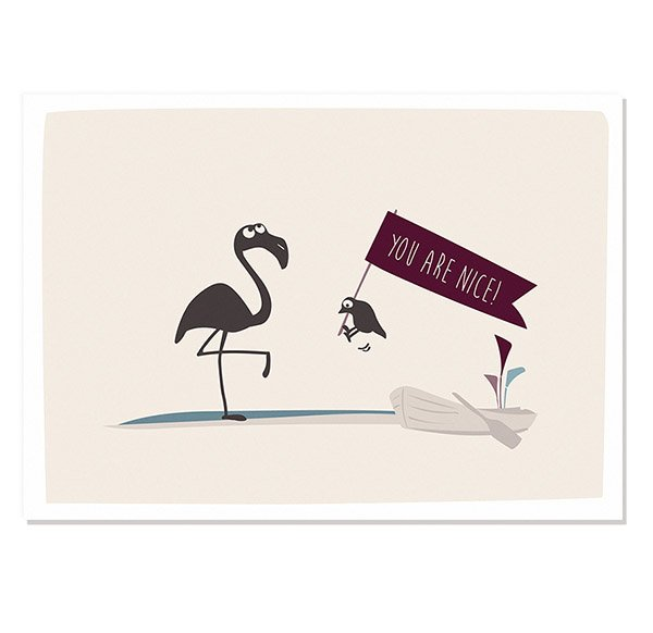 Postcard You are Nice (Flamingo)