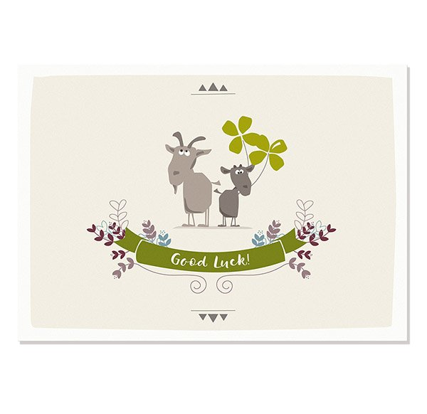Postcard Good Luck (goats)