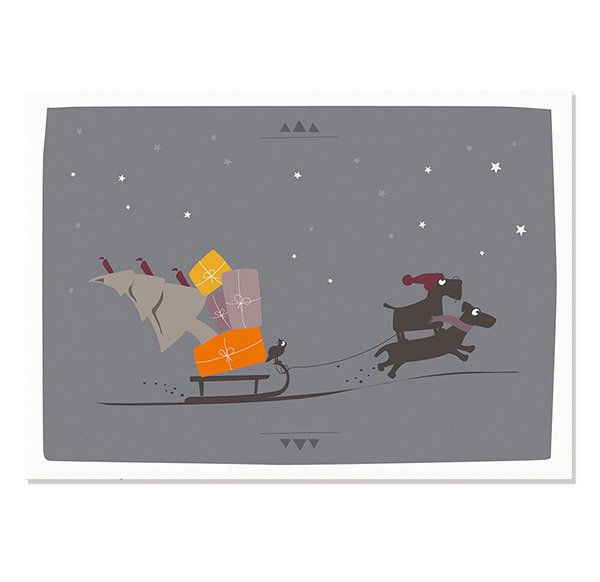 Postcard Christmas (sledge dogs)