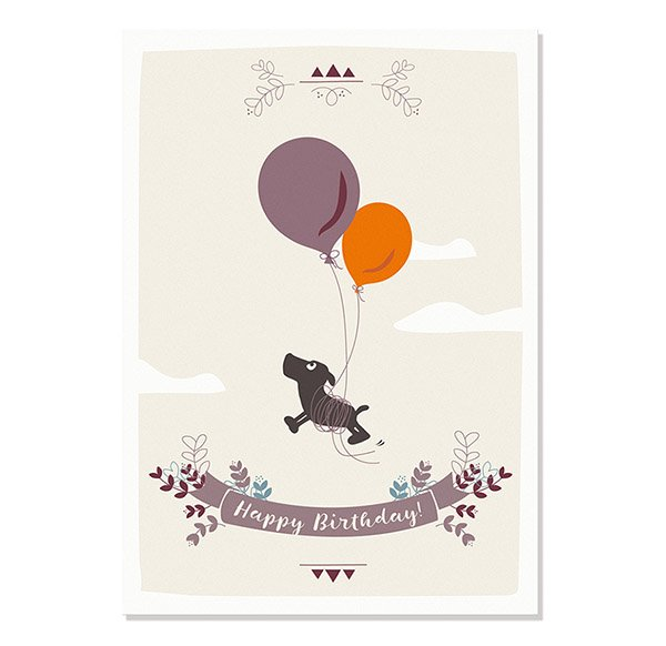 Postcard Happy Birthday (Leopold with balloons)